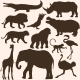 Vector Set of Tropical Animals Silhouettes - GraphicRiver Item for Sale