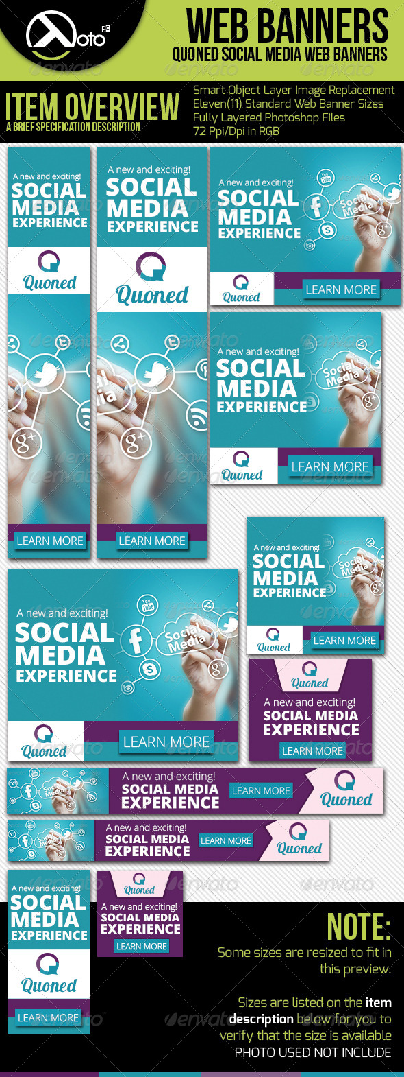 Social Media Web Banners - Banners & Ads Web Elements