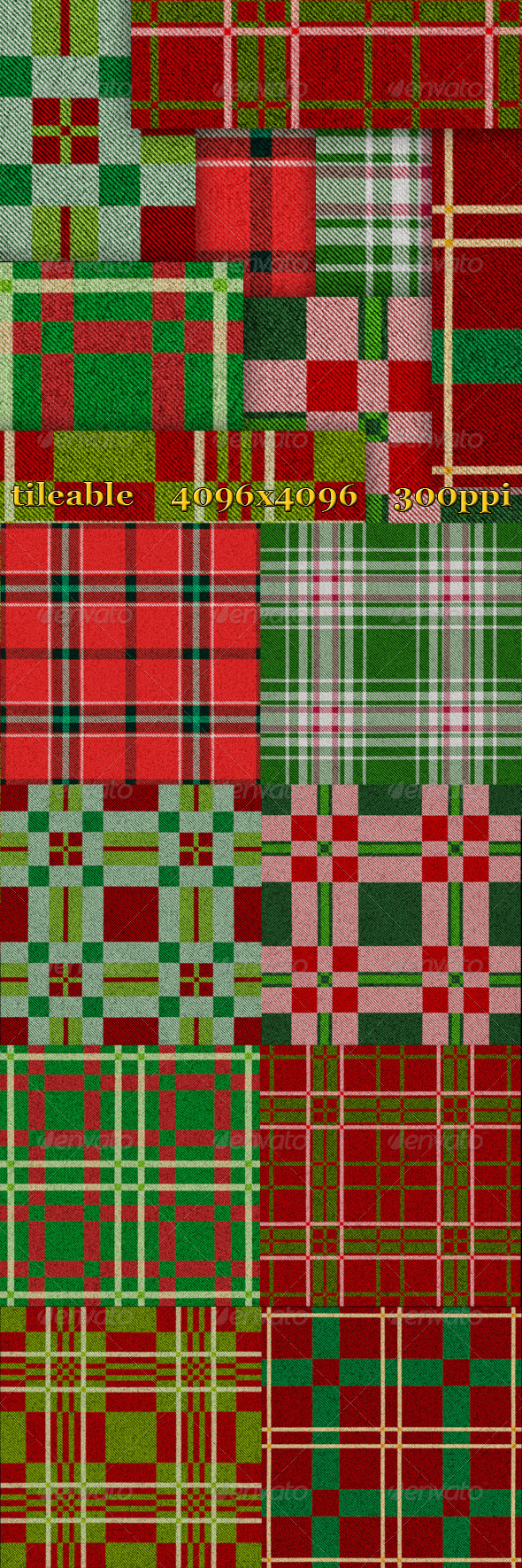 8 Christmas Plaid Textures - Fabric Textures