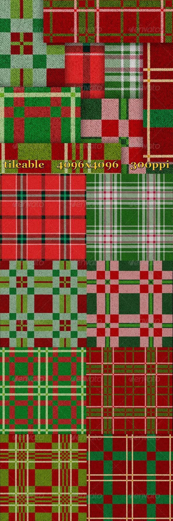 8 Christmas Plaid Textures - Fabric Textures