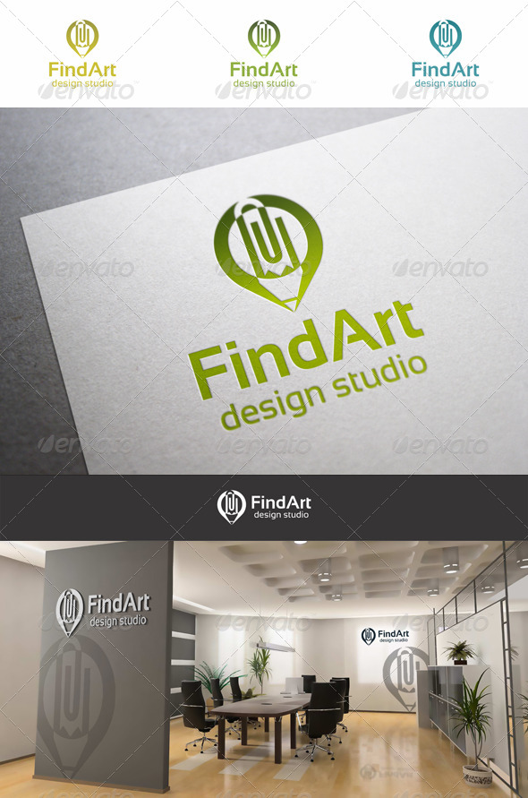 Pin Art Pencil Logo - Objects Logo Templates