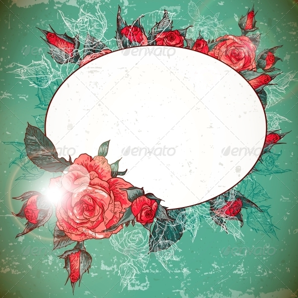 Romantic Vintage Rose Frame - Patterns Decorative