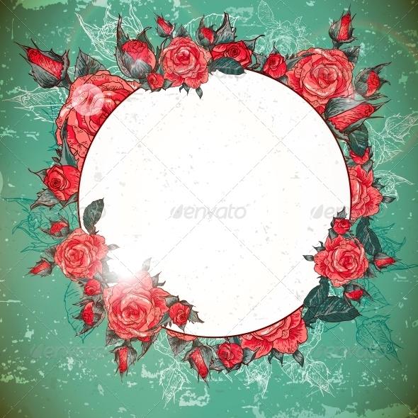 Romantic Vintage Rose Frame - Patterns Decorative
