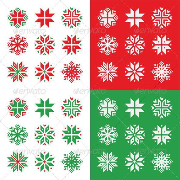 Christmas, Winter Red and Green Snowflakes Icons - Christmas Seasons/Holidays