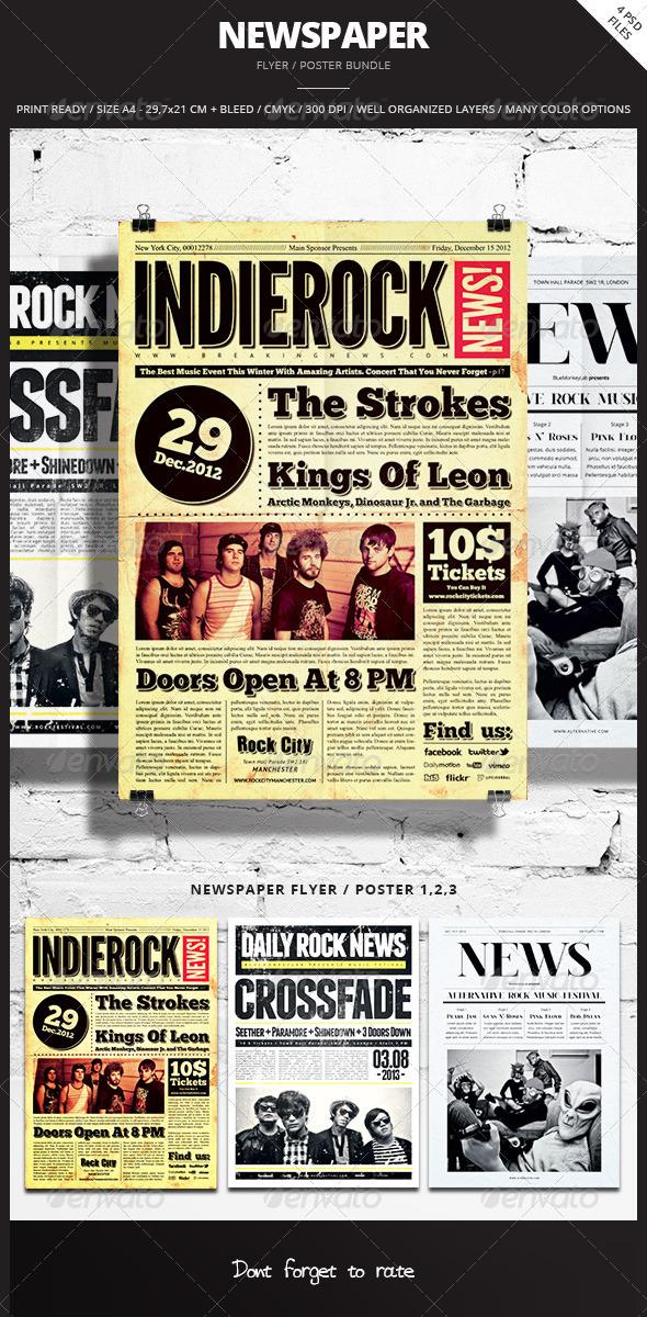 Newspaper Flyer / Poster Bundle - Events Flyers