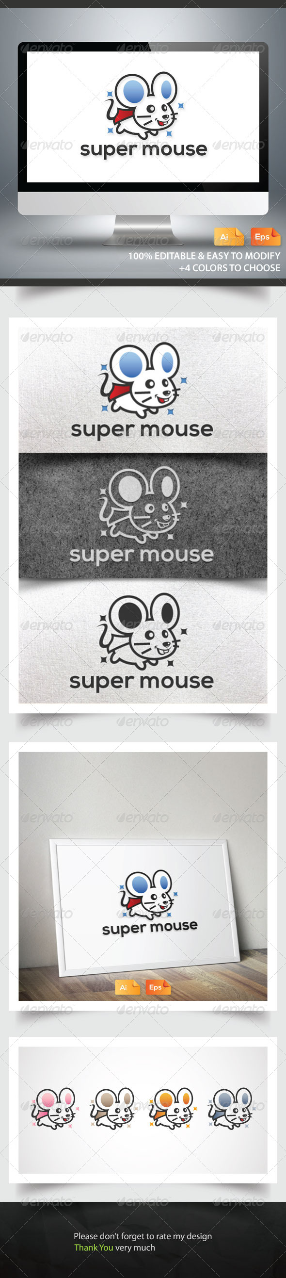 Super Mouse - Animals Logo Templates
