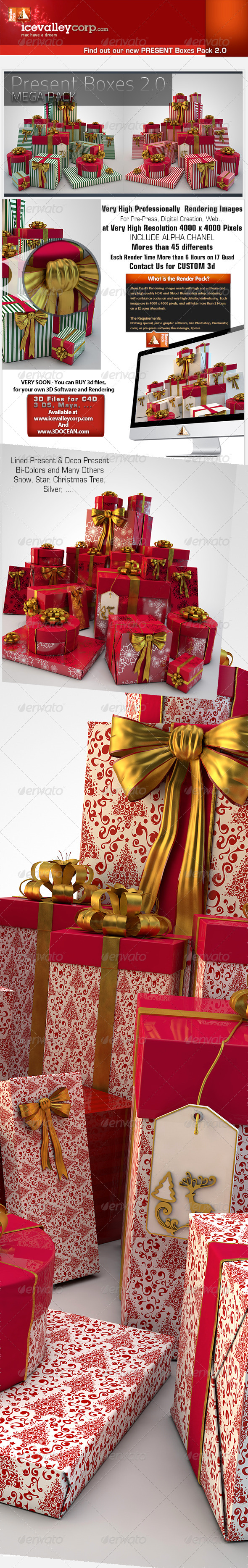 45 Present / Gift Box HiRes christmas-with bow - 3D Backgrounds