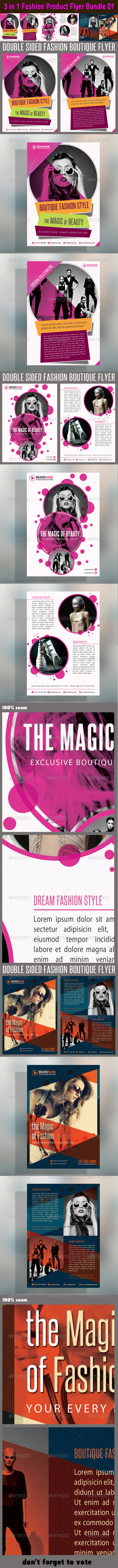 3 in 1 Fashion Product Flyer Bundle 01 - Events Flyers