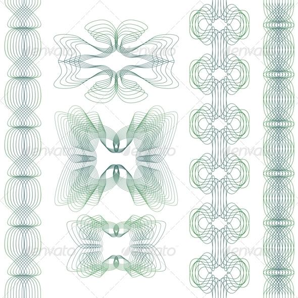 Set of Guilloche Elements - Decorative Vectors