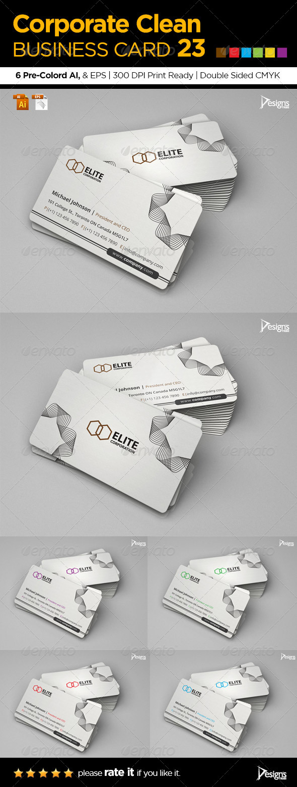 Corporate Clean Business Card 23 - Corporate Business Cards