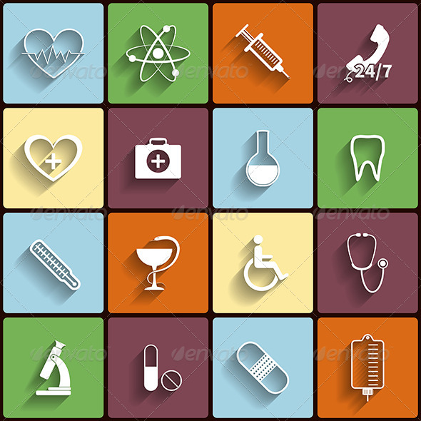 Medical Flat Icons Set - Health/Medicine Conceptual
