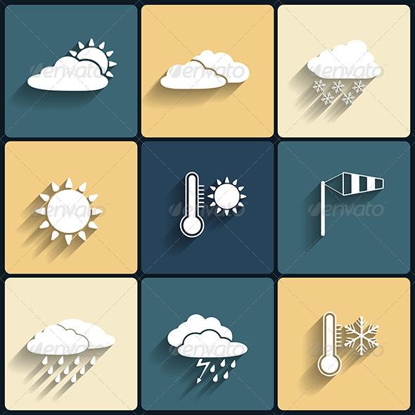 Flat Design Style Weather Icons Set - Web Elements Vectors