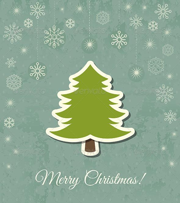 Christmas Tree Vector Card - Christmas Seasons/Holidays