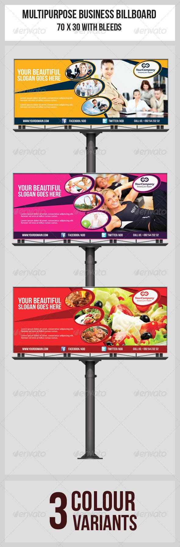 Multipurpose Business Billboard Template  - Signage Print Templates