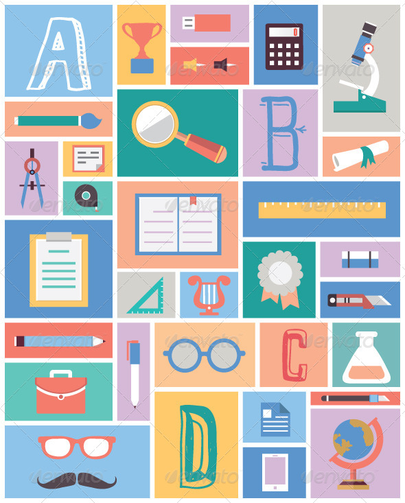 Set of Education Equipment. Flat Style Design - Vectors
