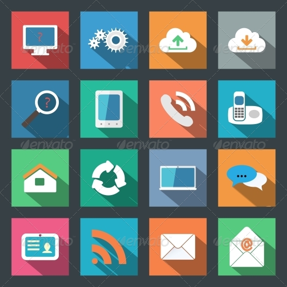 Communication Icons Set Flat Design - Web Technology
