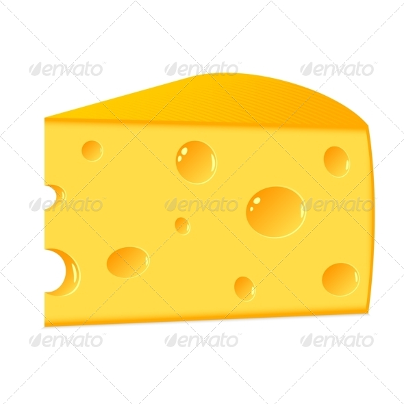 A Piece of Cheese on a White Background - Food Objects