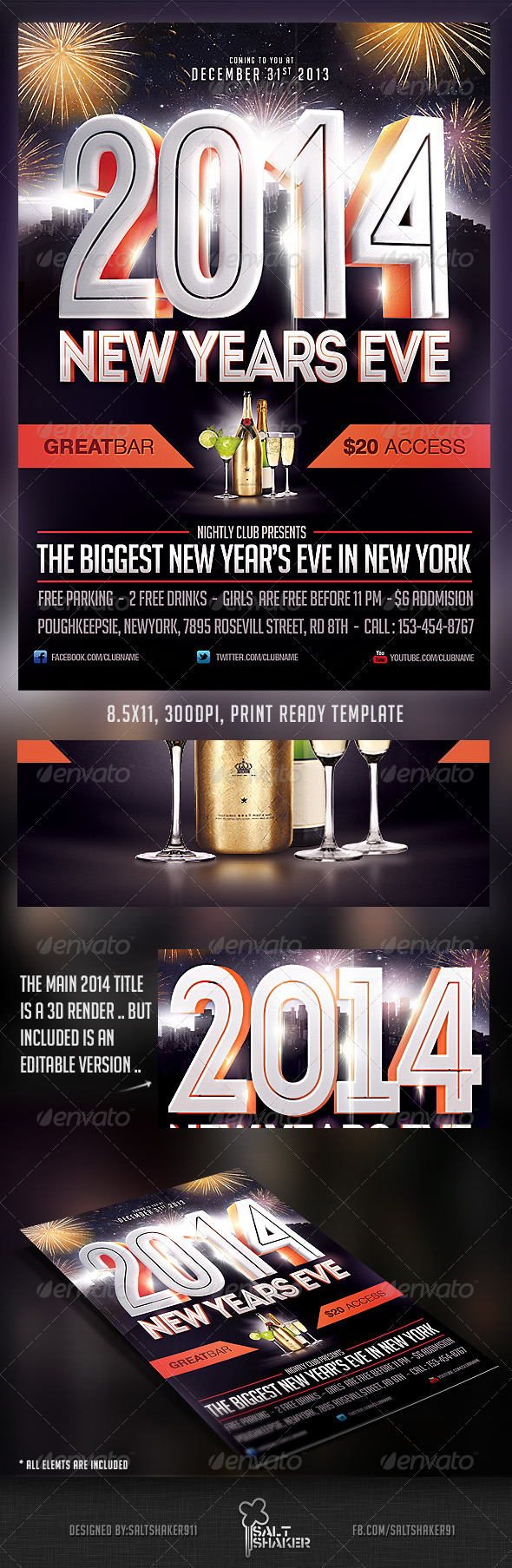 2014 New Years Eve Flyer Template - Clubs & Parties Events