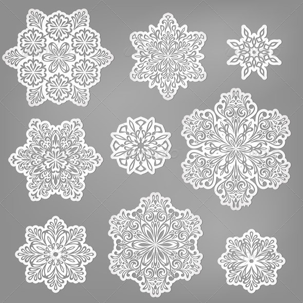 Vector Paper Cut Snowflakes - Decorative Symbols Decorative