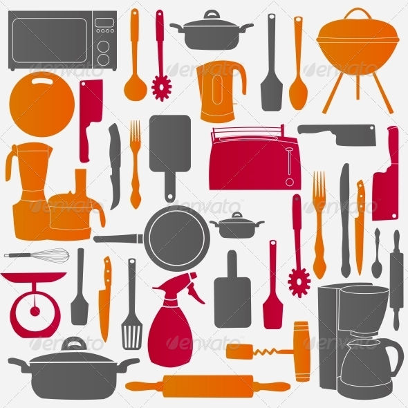 Vector Illustration of Kitchen Tools for Cooking - Backgrounds Decorative