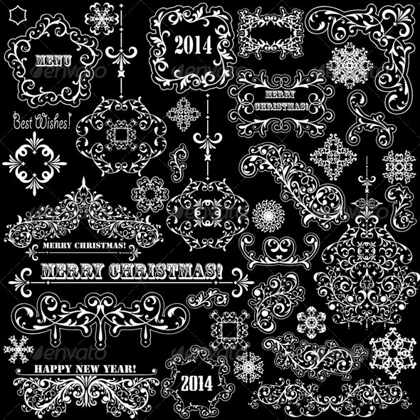 Vector Vintage Holiday Design Elements - Flourishes / Swirls Decorative