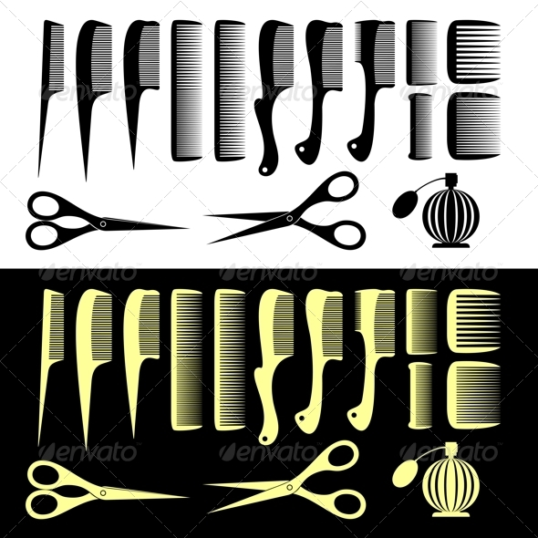 Combs and Scissors - Objects Vectors