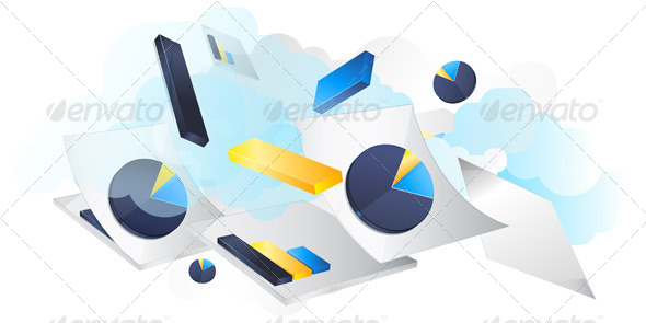 Business Concept, Reports Flying - Illustration - Concepts Business