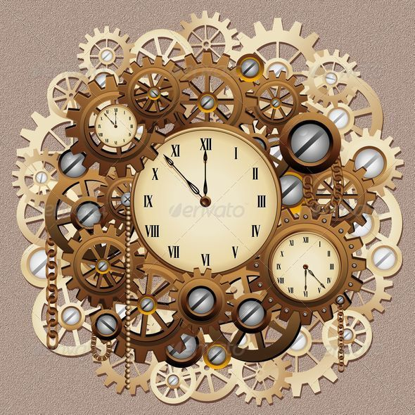 Steampunk Style Clocks and Gears - Retro Technology