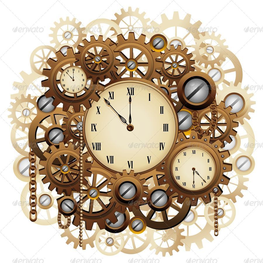 Steampunk Style Clocks And Gears By Bluedarkat Graphicriver