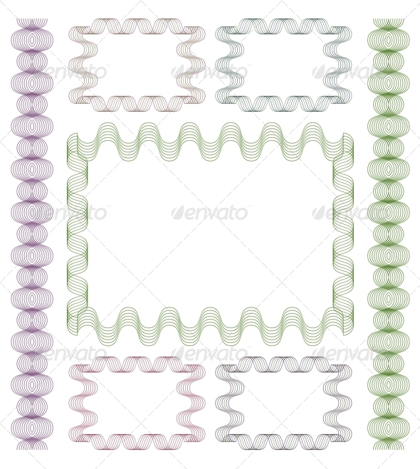 Set of Guilloche Frames. - Borders Decorative