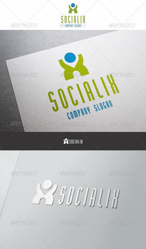 Social X Man Logo - Letters Logo Templates