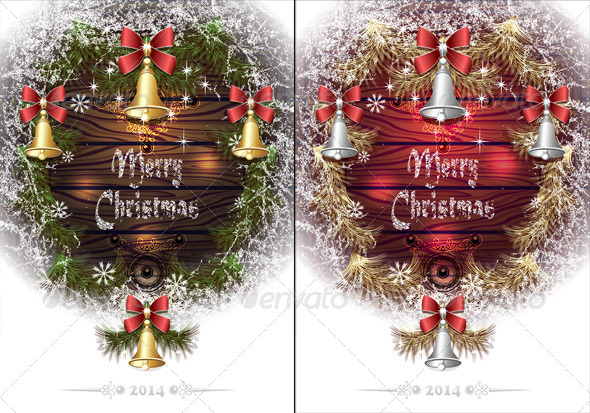 Christmas Frame with Hoar Bells Branches  - Seasons/Holidays Conceptual