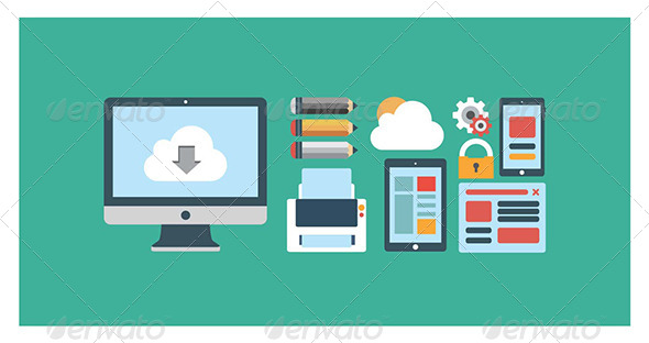 Flat Icons Media in Vector Format - Technology Conceptual