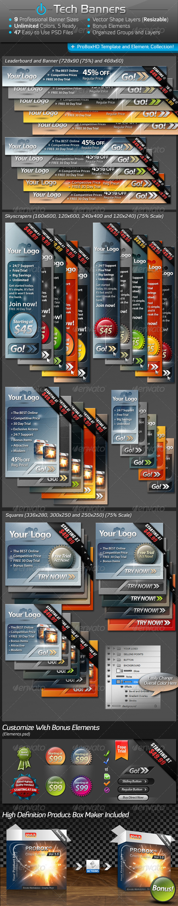 Tech Banners Mega Pack - Banners & Ads Web Elements