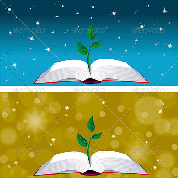 Sprout on Open Book - Objects Vectors