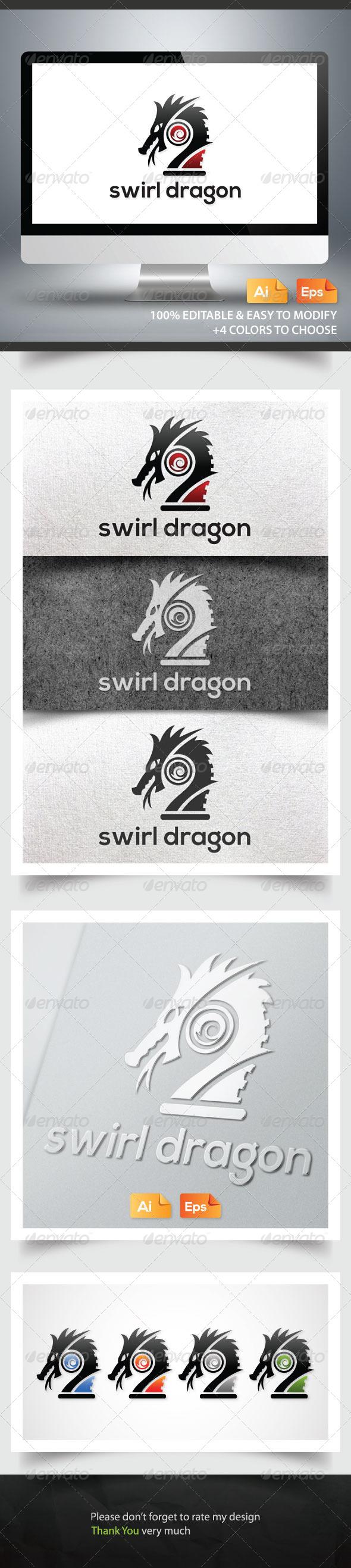 Swirl Dragon - Animals Logo Templates