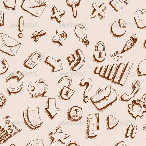 Doodle Internet Icons Seamless Background  - Patterns Decorative