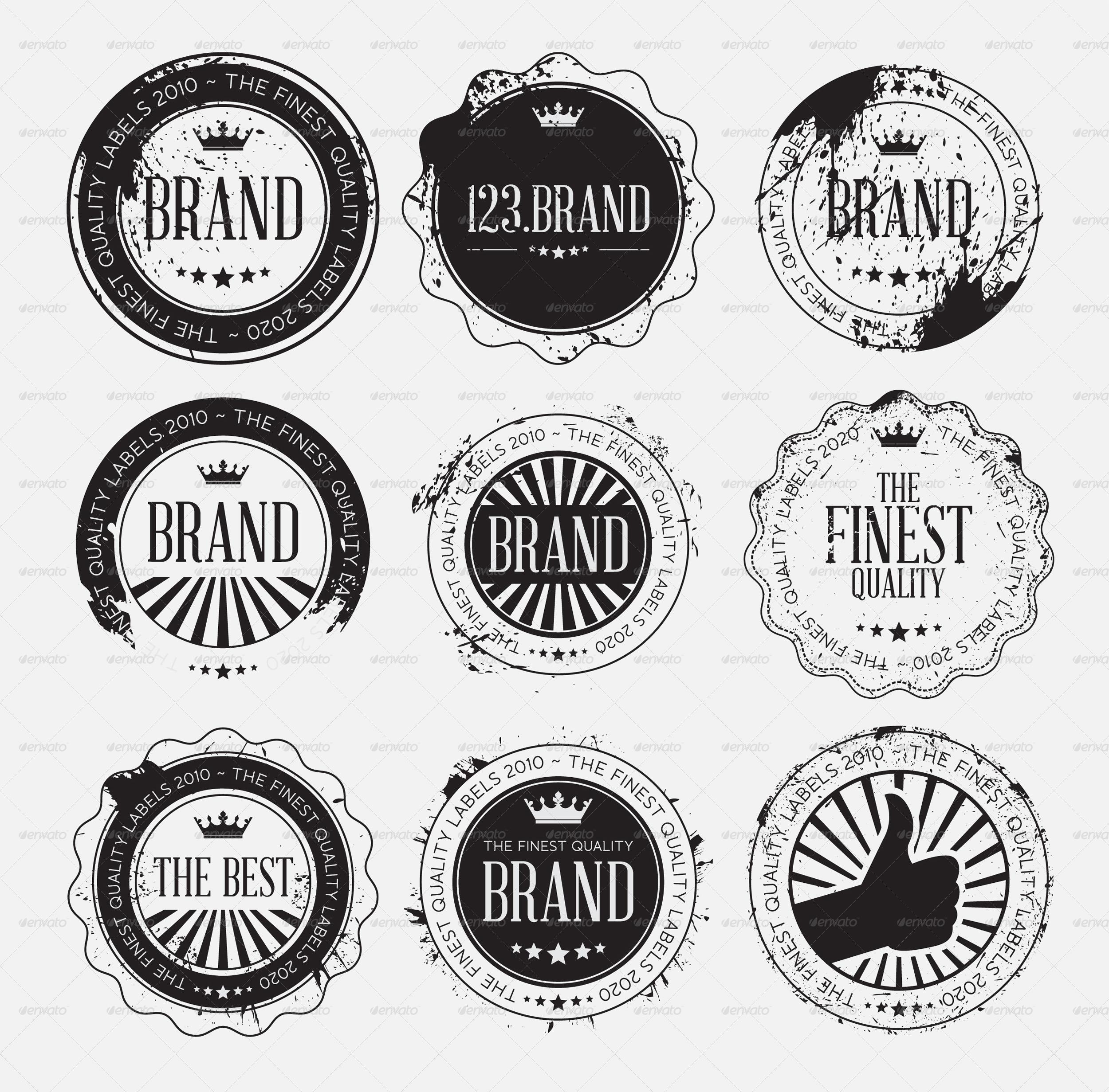 Set Of Retro Vintage Logo Badges Black With Grunge
