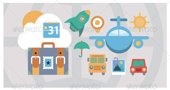 Flat Icons Travel and Transport Elements - Vectors