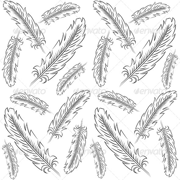 Hand Drawn Feather Pattern - Backgrounds Decorative