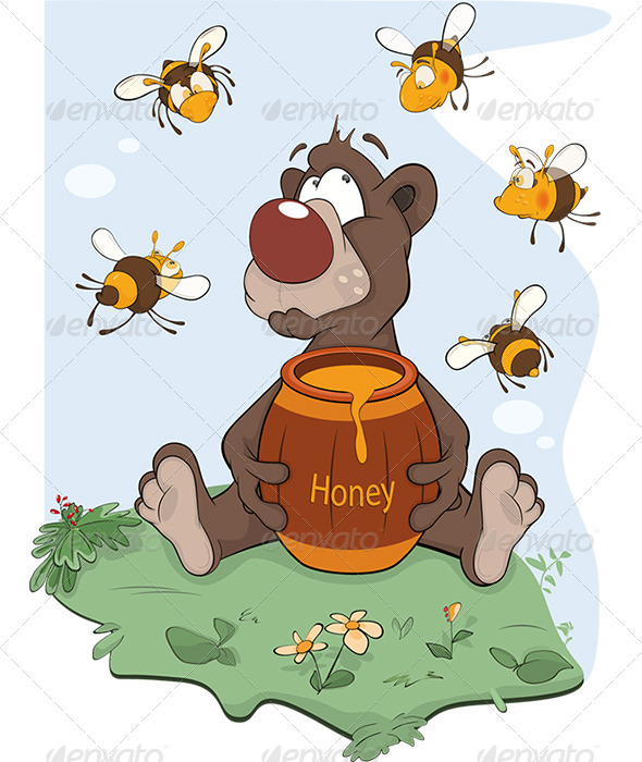 Bear and a Wooden Keg with Honey Cartoon - Animals Characters