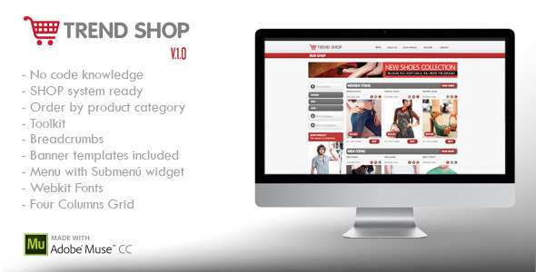 Trend Shop Muse | E-Commerce Shop Ready - eCommerce Muse Templates