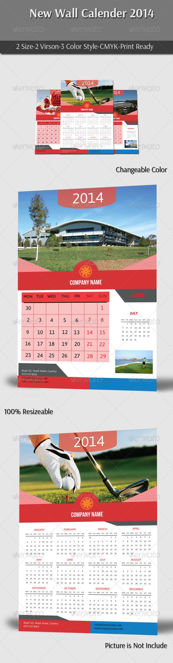 New Wall Calender 2014  - Calendars Stationery