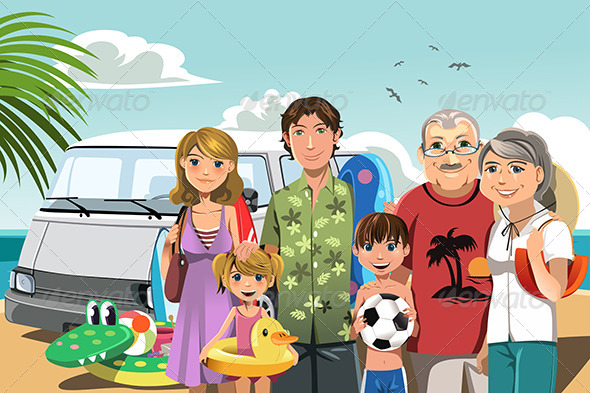 Family on Beach Vacation - Travel Conceptual