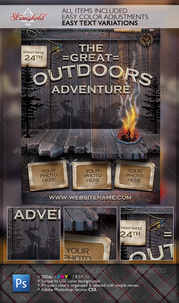 Vintage Outdoor Camping Adventure Flyer By Getstronghold