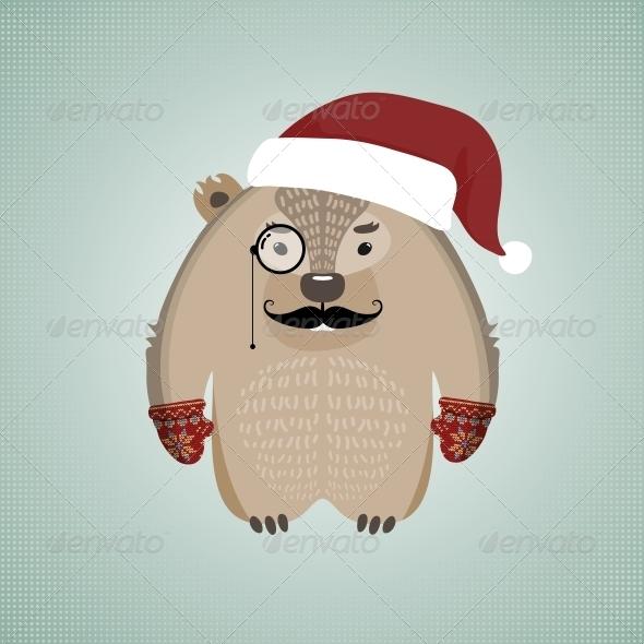 Funny Hipster Wombat Wearing Santa's Hat - Christmas Seasons/Holidays