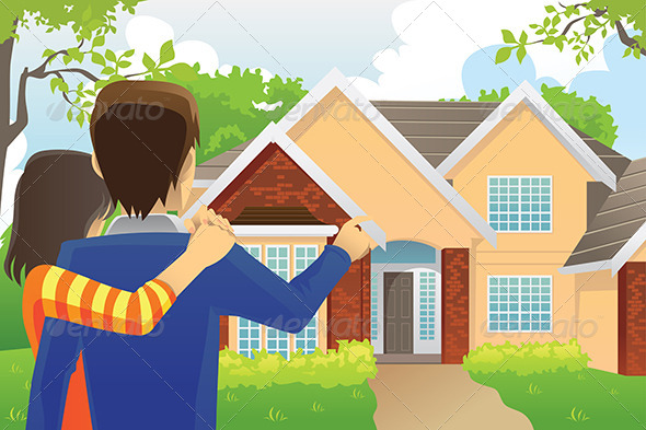 Couple Looking at a House - Conceptual Vectors