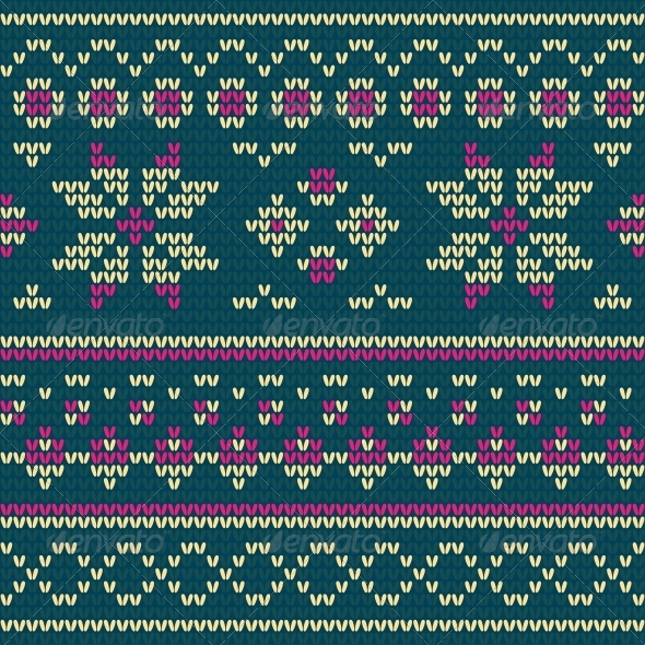 Knitted Texture with Floral Pattern - Patterns Decorative