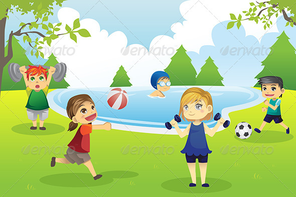 Kids Exercising in Park - Sports/Activity Conceptual