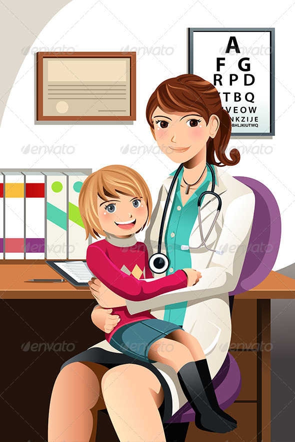 Pediatrician with Child - Health/Medicine Conceptual